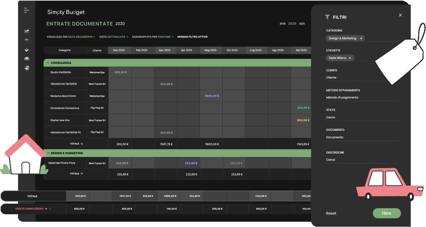 illustrazione schermata selezione filtri