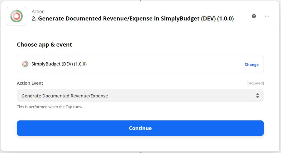 scegliere simply budget come app action zapier